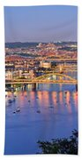 Pittsburgh Pennsylvania Skyline At Dusk Sunset Extra Wide Panorama Beach Towel