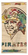 Pittsburgh Pirates Vintage Art Beach Sheet