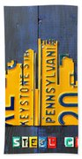Pittsburgh Skyline License Plate Art Beach Towel by Design Turnpike