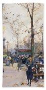 Place De La Bastille Paris Beach Towel by Eugene Galien-Laloue