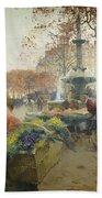 Place Du Theatre Francais Paris Beach Towel by Eugene Galien-Laloue