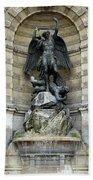 Place Saint Michel Statue And Fountain In Paris France Beach Towel