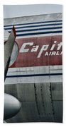 Plane Vintage Capital Airlines Beach Towel by Paul Ward