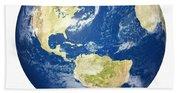 Planet Earth On White - America Beach Towel