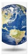 Planet Earth On White - America Beach Towel by Johan Swanepoel