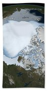 Planet Earth Showing Sea Ice Coverage Beach Towel