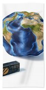 Planet Earth Smashed By A Hammer Beach Towel