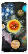 Planets And Nebulae In A Day Beach Towel