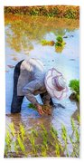 Planting Rice Beach Towel