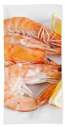Plate With Shrimps  Beach Towel