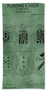 Playing Cards Patent Green Beach Towel