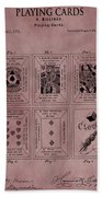 Playing Cards Patent Red Beach Towel