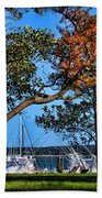 Plymouth Harbor In Autumn Beach Towel