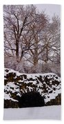 Plymouth Meeting Lime Kilns In The Snow Beach Towel