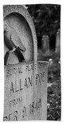 Poe's Original Grave Beach Towel by Jennifer Ancker