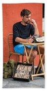 Poet For Hire Beach Towel by Steve Harrington