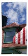 Point Betsie Lighthouse With Flag Beach Towel