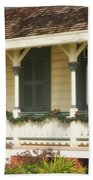 Point Fermin Lighthouse Christmas Porch Beach Towel
