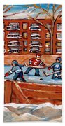 Pointe St. Charles Hockey Rink Southwest Montreal Winter City Scenes Paintings Beach Towel
