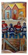 Pointe St. Charles Hockey Rinks Near Row Houses Montreal Winter City Scenes Beach Towel