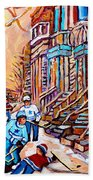 Pointe St.charles Hockey Game Near Winding Staircases Montreal Winter City Scenes Beach Towel
