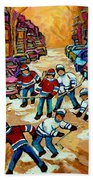 Pointe St.charles Hockey Game Winter Street Scenes Paintings Beach Sheet