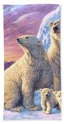 Polar Bear Family Beach Towel