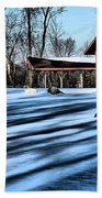 Pole Barns In The Winter Beach Towel