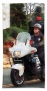Police - Motorcycle Cop On Patrol Beach Towel