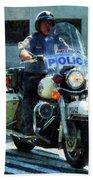 Police - Motorcycle Cop Beach Towel