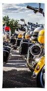 Police Motorcycle Lineup Beach Towel