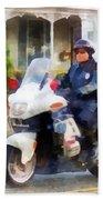 Police - Suburban Motorcycle Cop Beach Towel