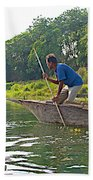 Poling A Dugout Canoe In The Rapti River In Chitwan National Park-nepal Beach Towel