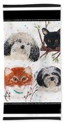 Polka Dot Family Pets With Borders - Whimsical Art Beach Towel
