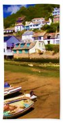 Polperro At Low Tide Beach Towel