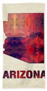 Polygon Mosaic Parchment Map Arizona Beach Towel