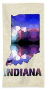 Polygon Mosaic Parchment Map Indiana Beach Towel
