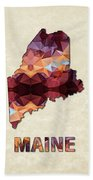 Polygon Mosaic Parchment Map Maine Beach Towel