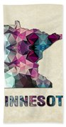Polygon Mosaic Parchment Map Minnesota Beach Towel