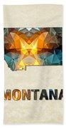 Polygon Mosaic Parchment Map Montana Beach Towel