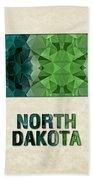 Polygon Mosaic Parchment Map North Dakota Beach Towel