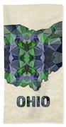 Polygon Mosaic Parchment Map Ohio Beach Towel