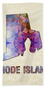 Polygon Mosaic Parchment Map Rhode Island Beach Towel