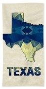 Polygon Mosaic Parchment Map Texas Beach Towel