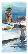 Polynesian Vahines Around Canoe Beach Towel
