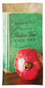 Pomegranate And Vintage Cook Book Still Life Beach Towel