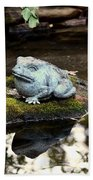 Pond Frog Statuette Beach Towel