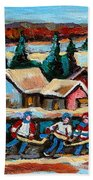 Pond Hockey 2 Beach Towel by Carole Spandau