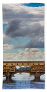 Ponte Vecchio Clouds Beach Towel by Inge Johnsson