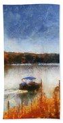 Pontoon Boat Photo Art 02 Beach Towel